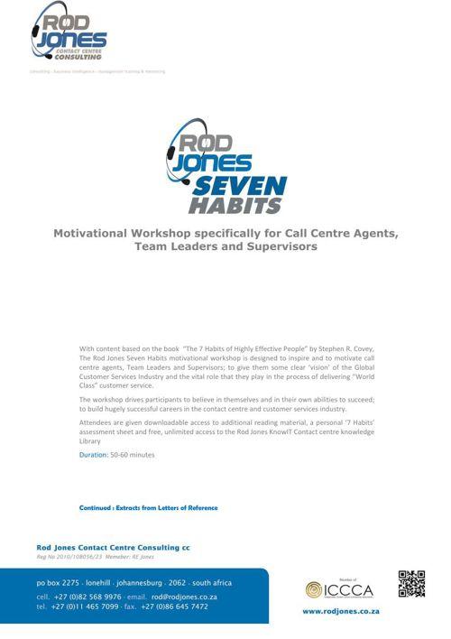 Rod Jones Seven Habits Motivational Workshops Ver 2 Feb 2015