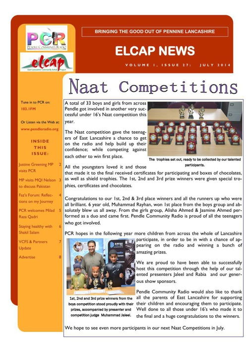 Issue 27 - July 2014 - ELCAP E-Newsletter