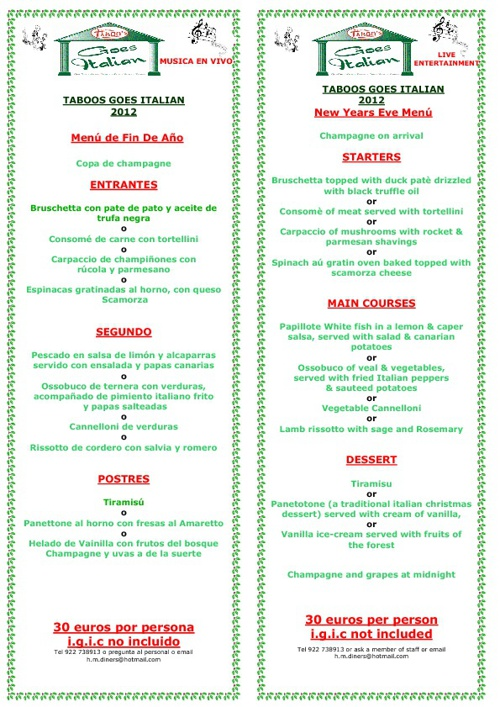 Taboos Xmas and New Year Menu