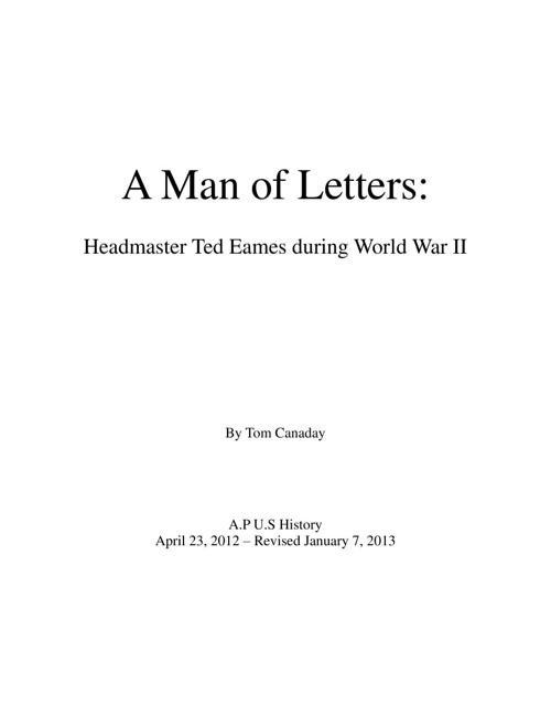 A Man of Letters: Headmaster Ted Eames during World War II
