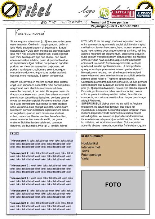 Indeling Nieuwsbrief februari 2013