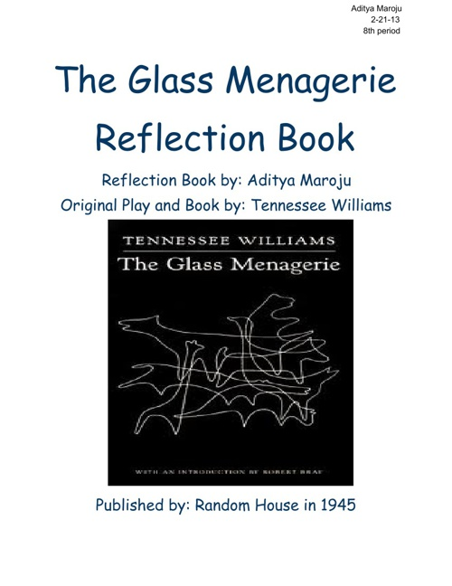 The Glass Menagerie Reflection Book
