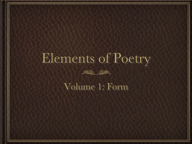 Analyzing Poetry: Form