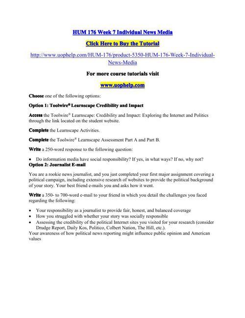 HUM 176 Week 7 Individual News Media