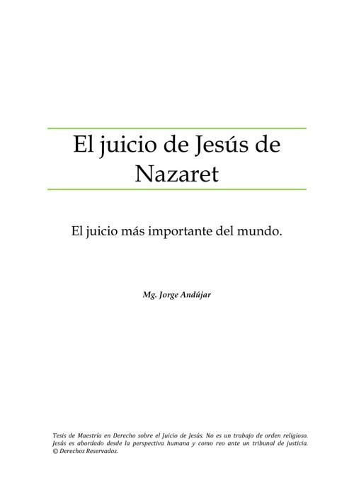EL JUICIO DE JESÚS DE NAZARETH