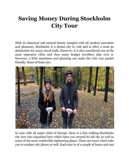 Saving Money During Stockholm City Tour