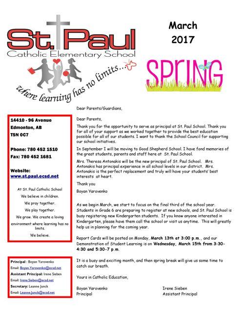 March St  Paul School Newsletter