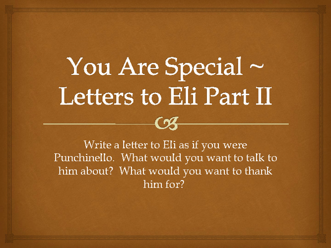 Letters to Eli Part II