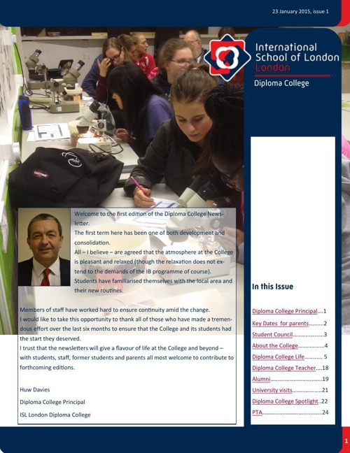 Diploma College Newsletter Autumn/Winter Edition