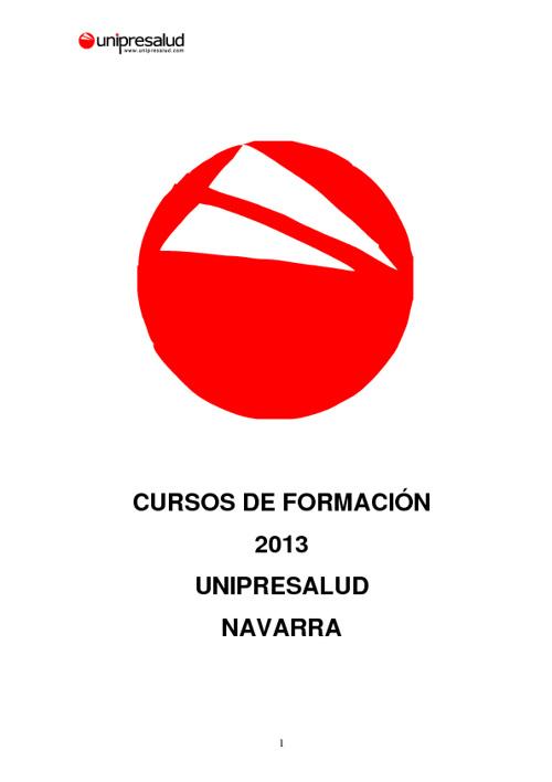 CURSOS FORMACION UNIPRESALUD NAVARRA 2013