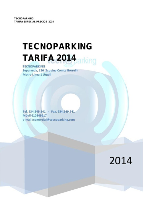 TARIFA TECNOPARKING 2014