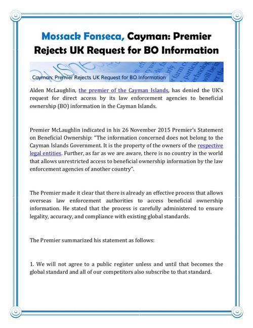 Mossack Fonseca, Cayman: Premier Rejects UK Request for BO Infor