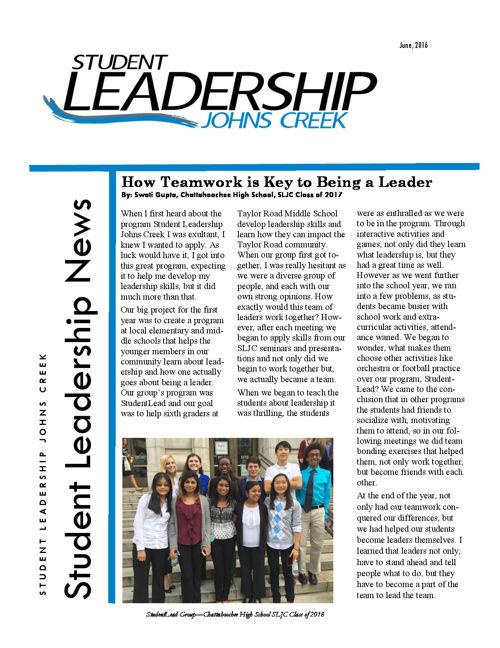 Student Leadership Johns Creek - June 2016