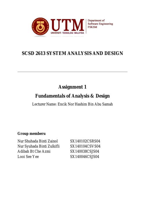 SCSD2613 Assignment 1 - Fundamentals of Analysis & Design