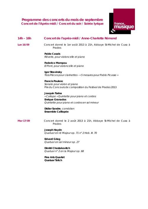 Programmes des concerts de Septembre sur France Musique