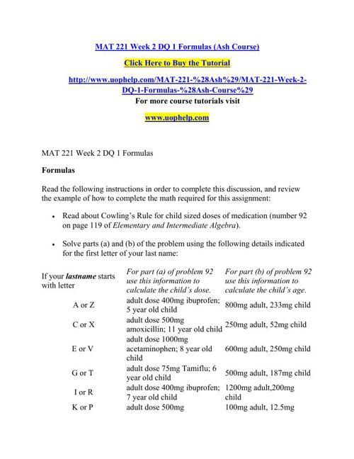 MAT 221 Week 2 DQ 1 Formulas (Ash Course)