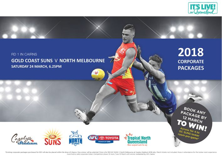 Round 1 Gold Coast SUNS v North Melbourne Corporate Packages