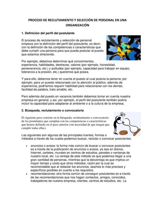 PROCESO DE RECLUTAMIENTO Y SELECCIÓN DEL PERSONAL