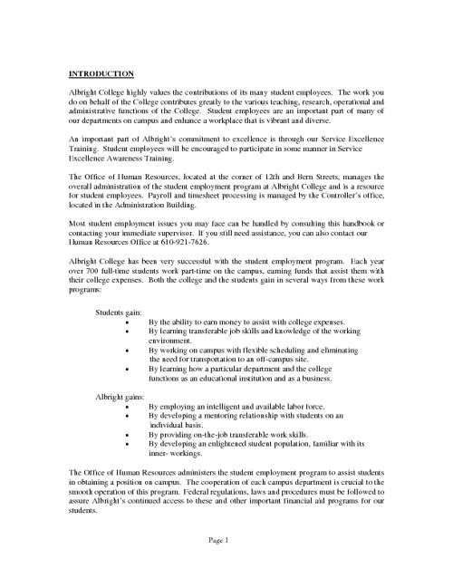 Albright College Student Employment Handbook