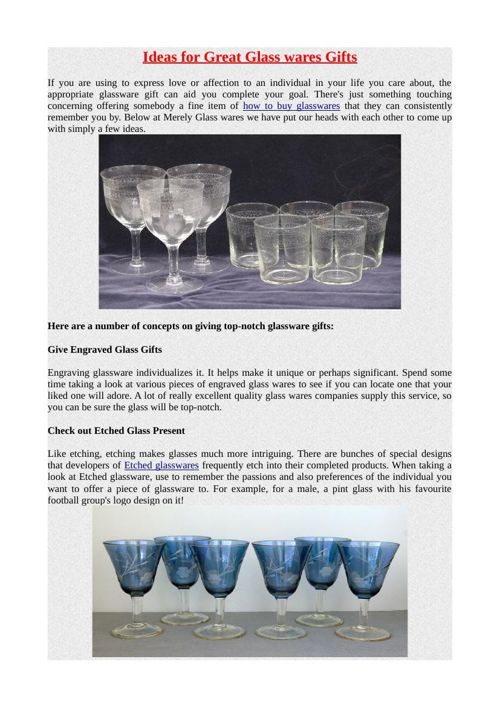 Ideas for Great Glass wares Gifts