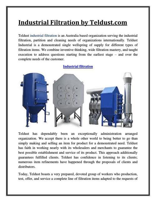 Industrial Filtration by Teldust.com