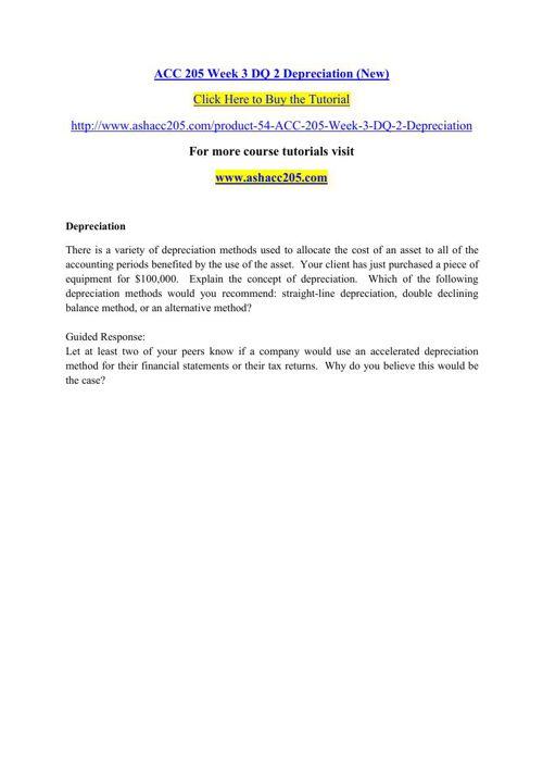 ACC 205 Week 3 DQ 2 Depreciation (New)