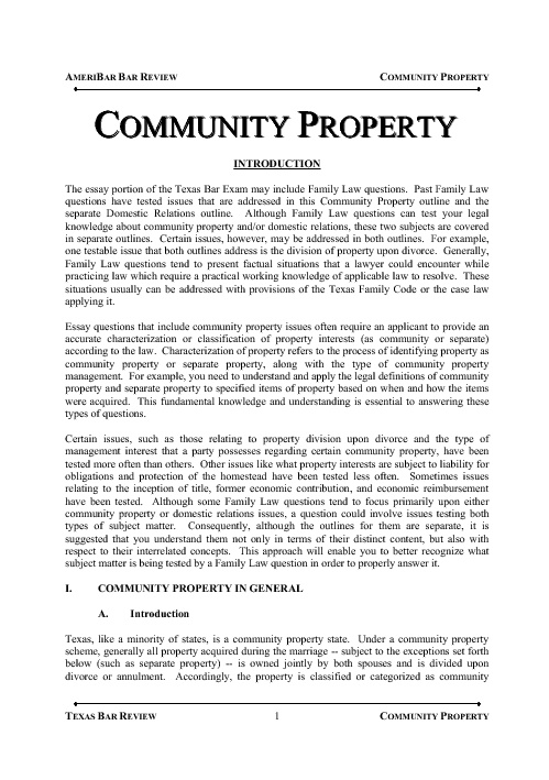 Texas Community Property