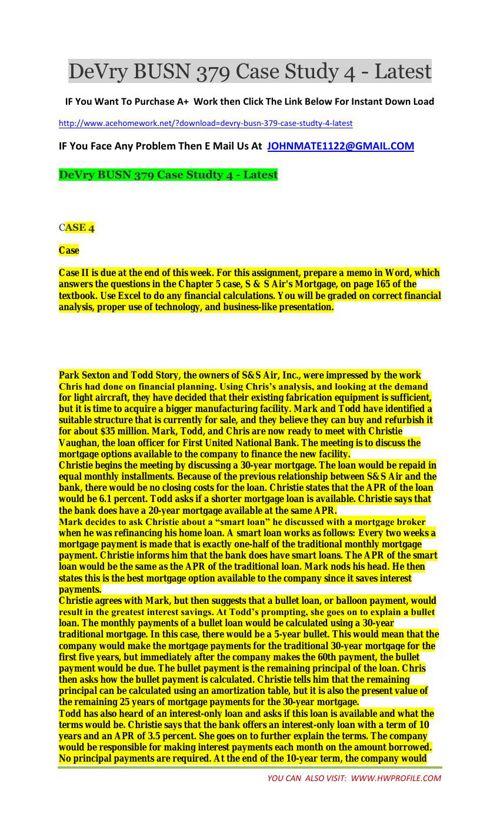 DeVry BUSN 379 Case Studty 4 - Latest