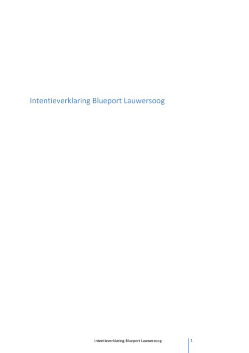 Intentieverklaring BluePort Lauwersoog