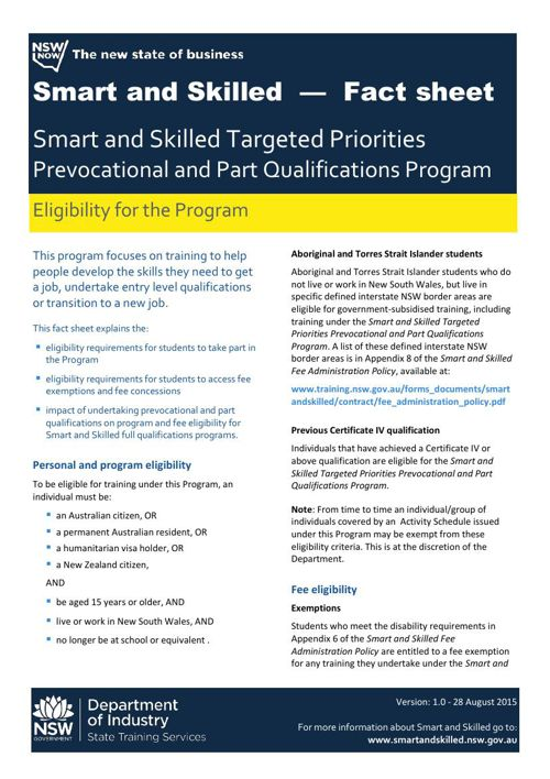 NSW Prevocational & Part Qualifications Program Eligibility