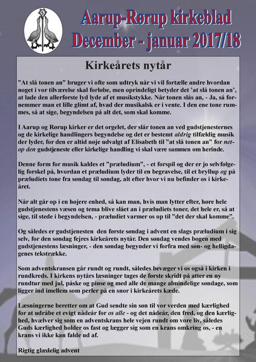 Kirkeblad december-januar Aarup-Rørup 2017-18