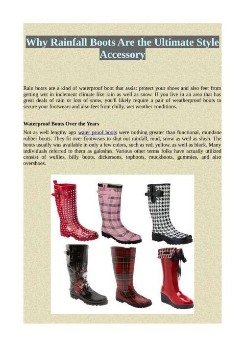 Why Rainfall Boots Are the Ultimate Style Accessory