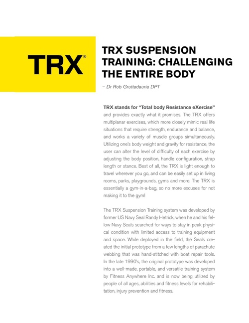 TRX Suspension Training: Challenging The Entire Body