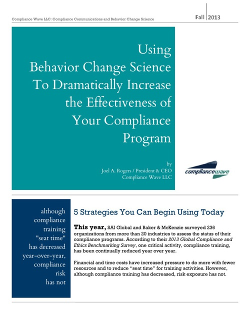 Compliance Wave on Behavior Change Science - Fall 2013