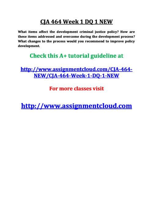 CJA 464 Week 1 DQ 1 NEW