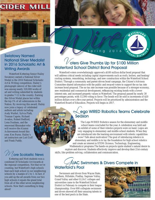 Waterford School District Wire Newsletter, Spring 2016