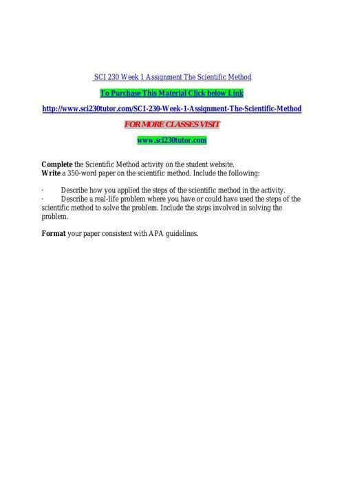 SCI 230 TUTOR Real Education / sci230tutor.com