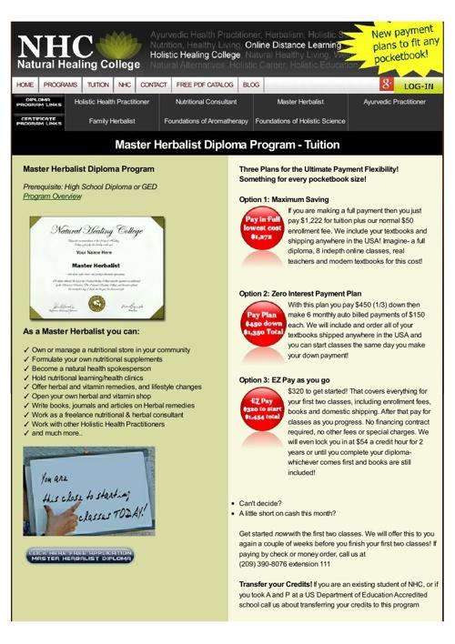 Master Herbalist Diploma Program - Tuition