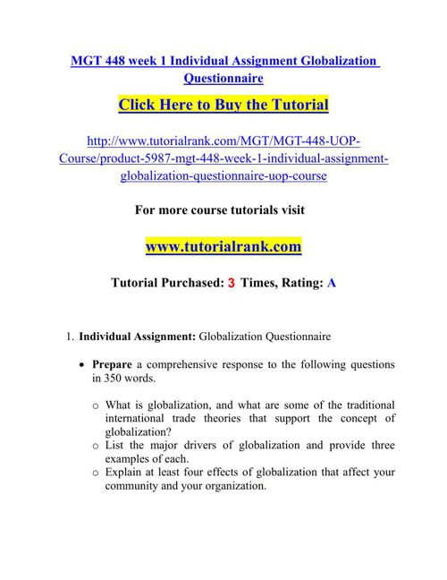 MGT 448 Academic Professor / tutorialrank.com