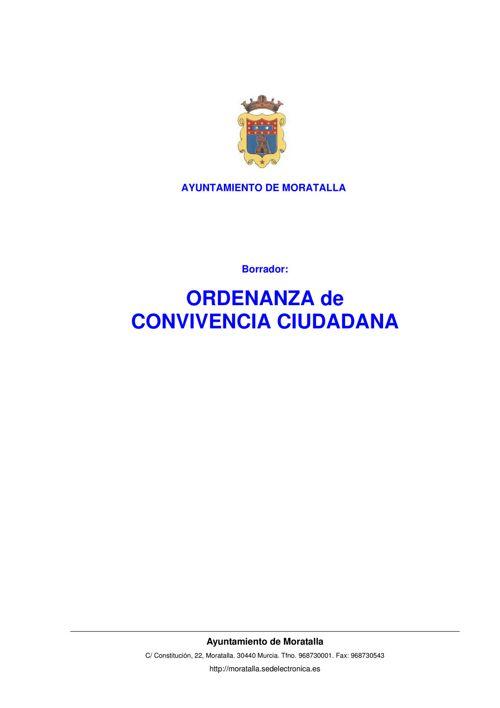 BORRADOR ORDENANZA CONVIVENCIA MORATALLA 6 DE FEB 2017