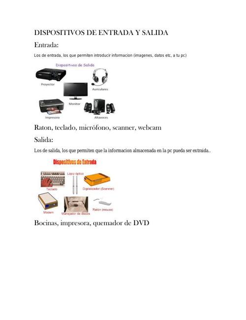 DISPOSITIVOS DE ENTRADA Y SALIDA