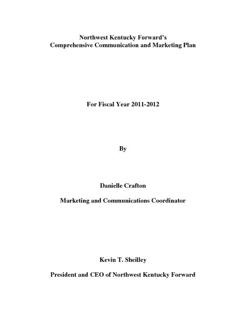Comprehensive Communication and Marketing Plan 11-12