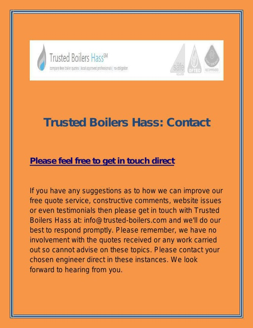Trusted Boilers Hass Contact