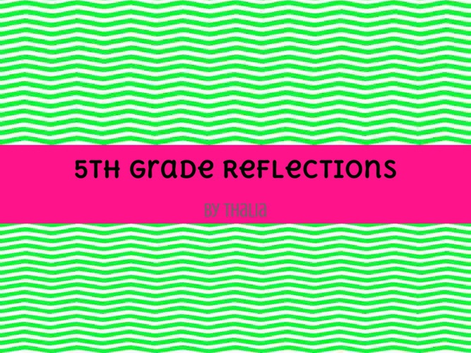 5th grade reflection