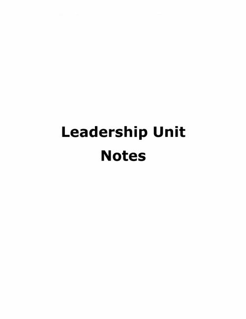 Leadership Unit Notes