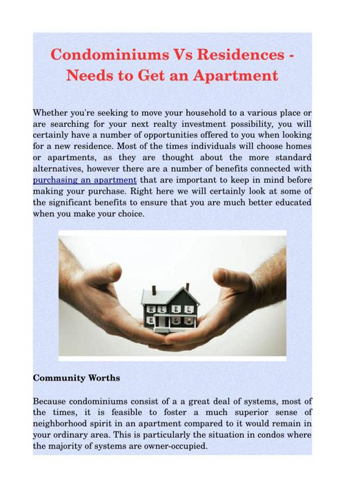 Condominiums Vs Residences - Needs to Get an Apartment
