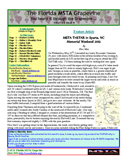 June 2012 Florida MSTA Newsletter