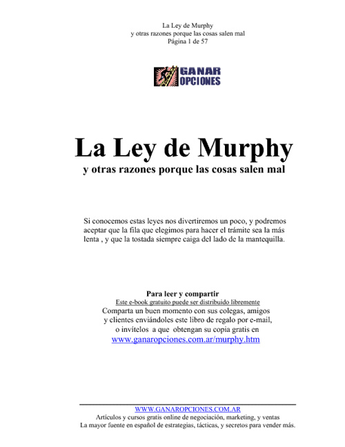 LEY DE MURPHY (Bloch Arthur)