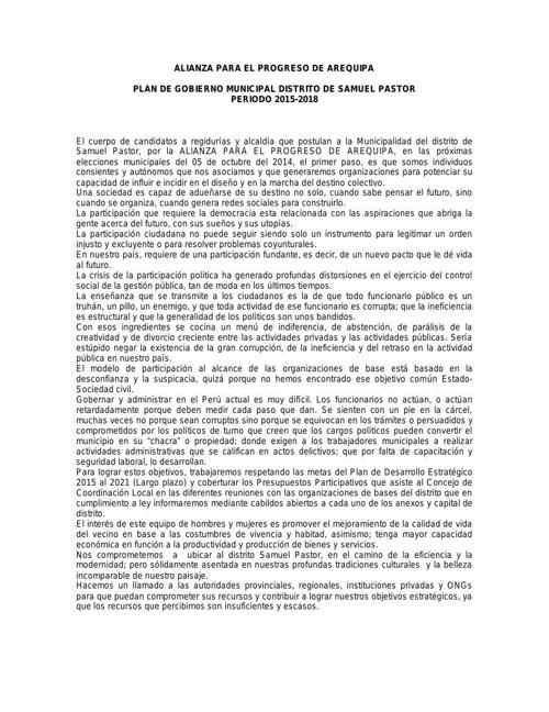 PLAN DE GOBIERNO SAMUEL PASTOR 1