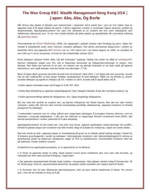 The Woo Group RBC Wealth Management Hong Kong USA | Japan: Abe,